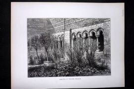 Picturesque Europe 1870s Antique Print. Cloisters at Tongres, Belgium